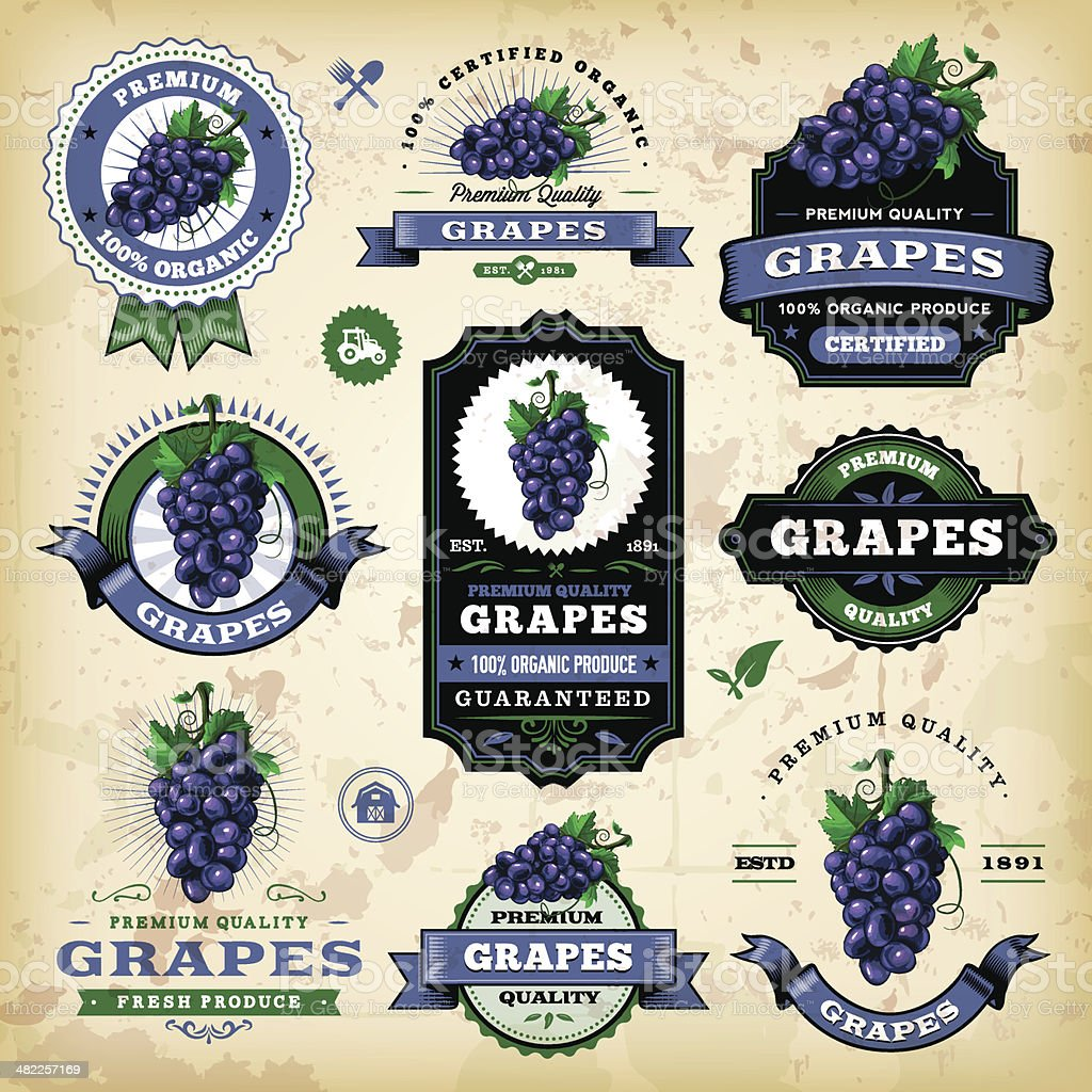 Vintage Grapes Labels vector art illustration