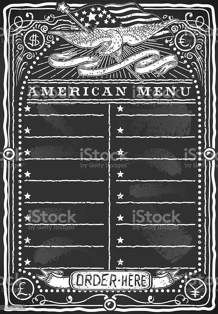 Vintage Graphic Blackboard for American Menu royalty-free stock vector art