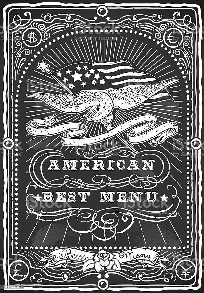 Vintage Graphic Blackboard for American Menu royalty-free stock vector art