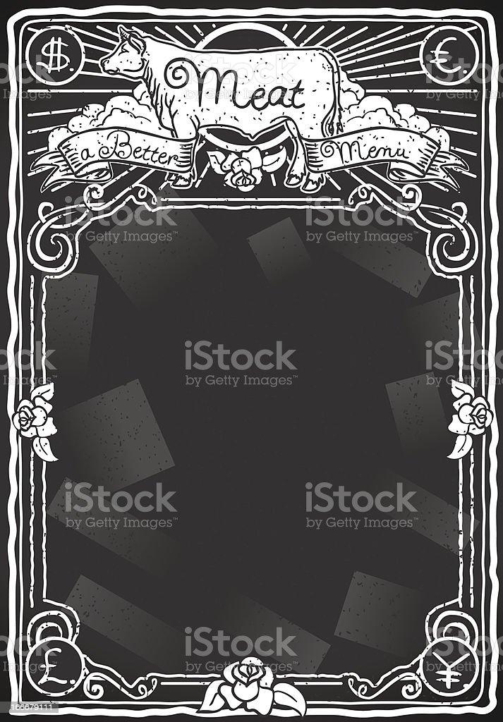 Vintage Graphic Blackboard for Meat Menu royalty-free stock vector art