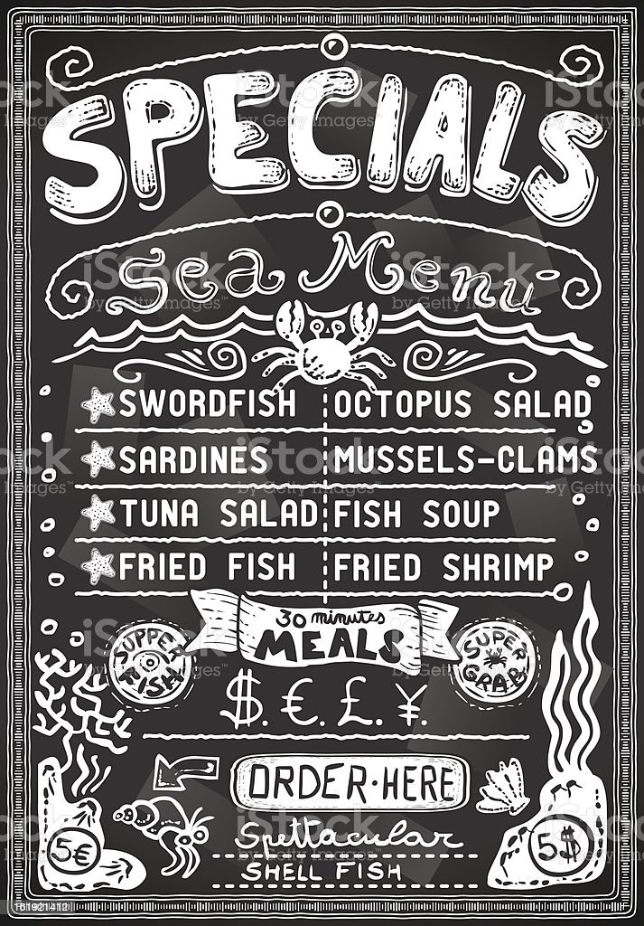 vintage graphic blackboard menu for bar or restaurant royalty-free stock vector art