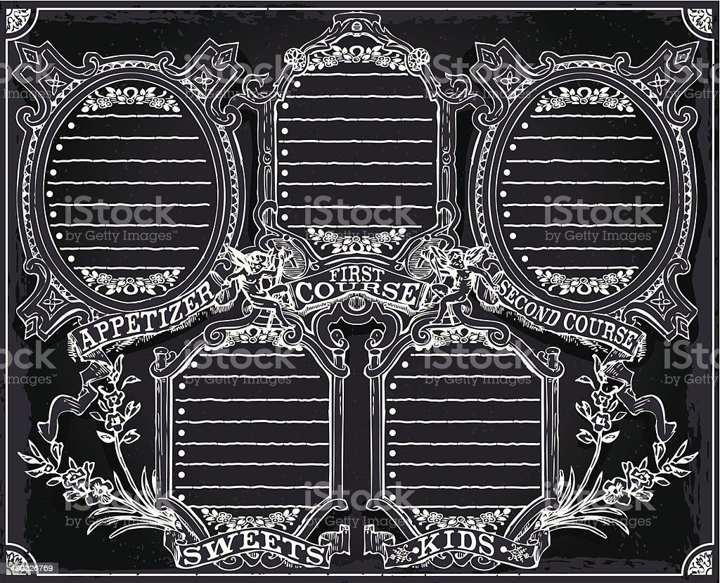Vintage Graphic Blackboard Menu for Restaurant royalty-free vintage graphic blackboard menu for restaurant stock vector art & more images of aging process