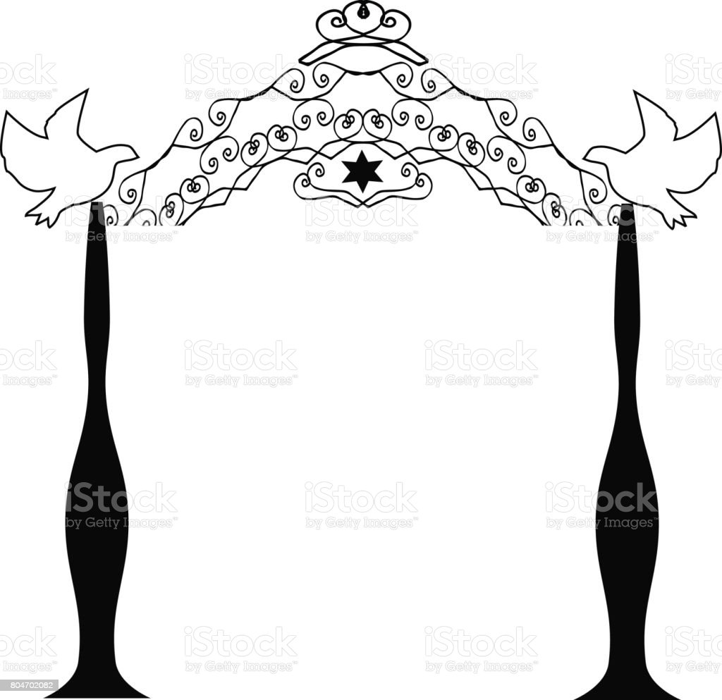 Religious Jewish wedding canopy for. illustration on isolated background royalty-  sc 1 st  iStock & Vintage Graphic Chuppah Religious Jewish Wedding Canopy For ...