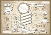 vintage graphic element for bar menu