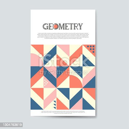 Vintage graphic, geometric shapes. Vector poster in minimal modernist style