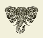 Vintage graphic indian elephant. Floral pattern in ethnic style. Vector