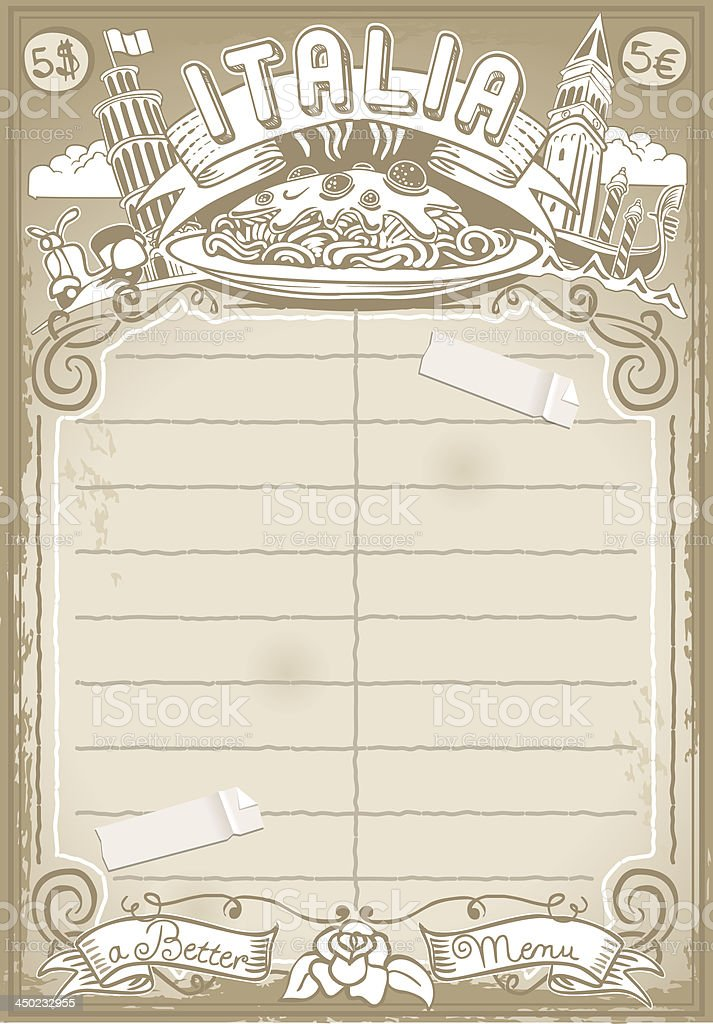 Vintage Graphic Italian Menu royalty-free vintage graphic italian menu stock vector art & more images of aging process
