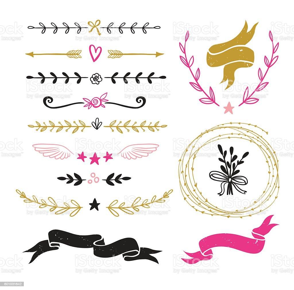Vintage graphic set of design elements. - ilustración de arte vectorial