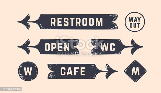 Vintage graphic set. Set of vintage arrow, sign, banner with text, old school graphic elements. Design elements, retro hipster banner with black white arrow with text sign set. Vector Illustration