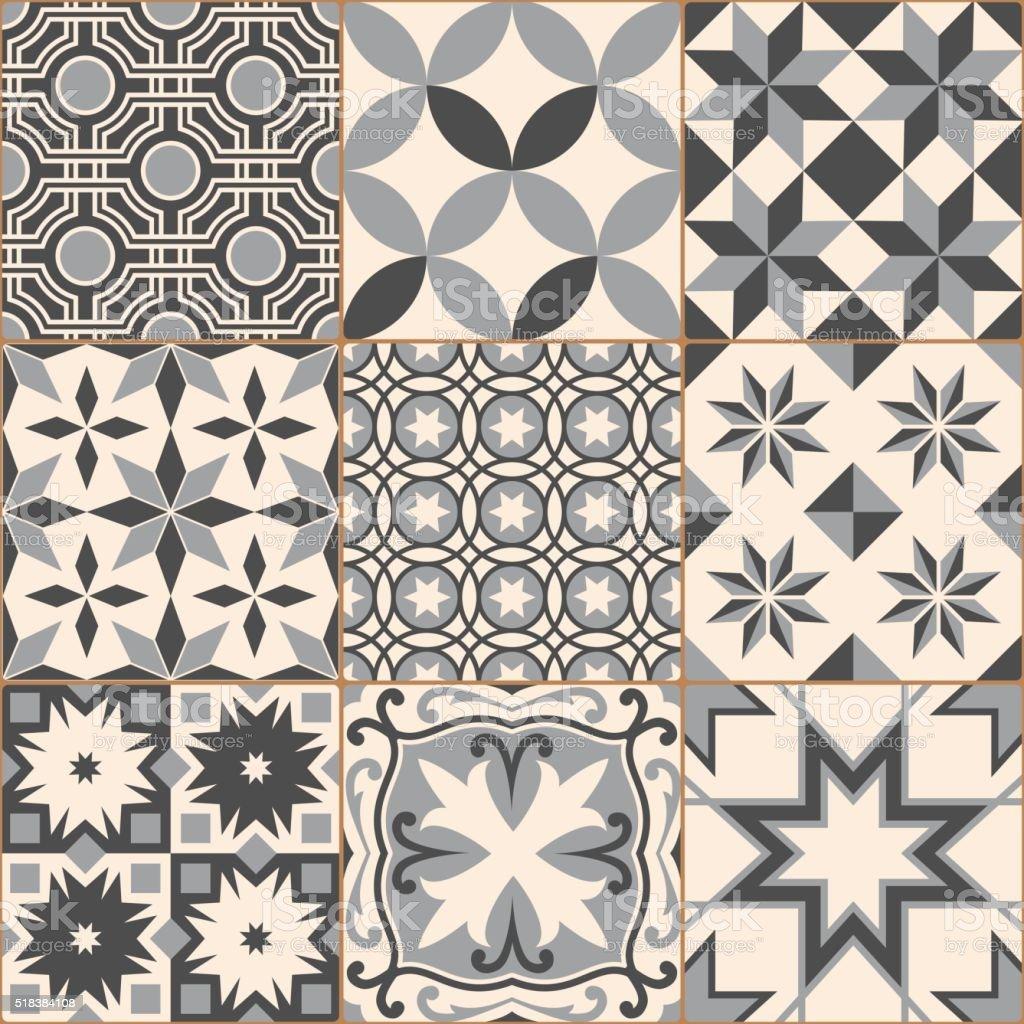 Ilustración de Vintage Gris Mosaico Patrón Continuo Losa De ...