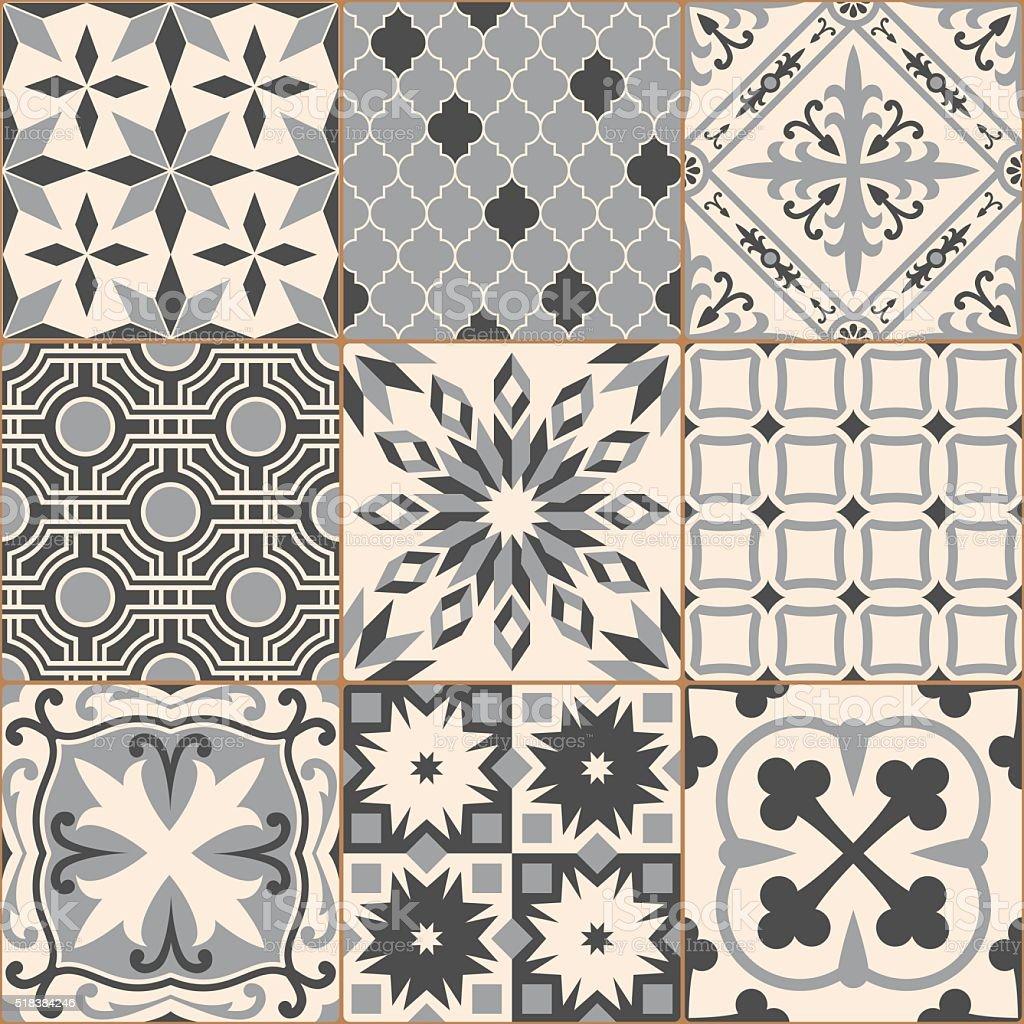 vintage gray mosaic porcelain tiles seamless pattern stock. Black Bedroom Furniture Sets. Home Design Ideas