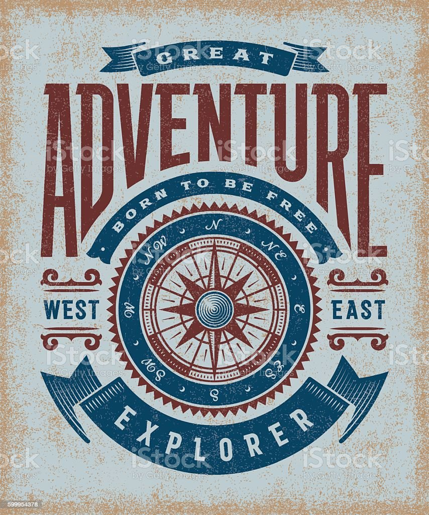 Vintage Great Adventure Typography - ilustración de arte vectorial