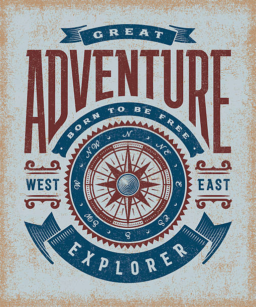 Vintage Great Adventure Typography vector art illustration