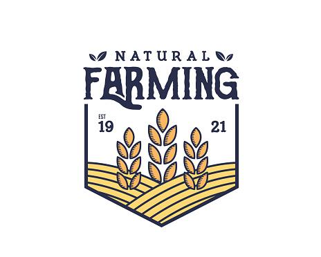 Vintage Organic Product Farms Badge Illustration