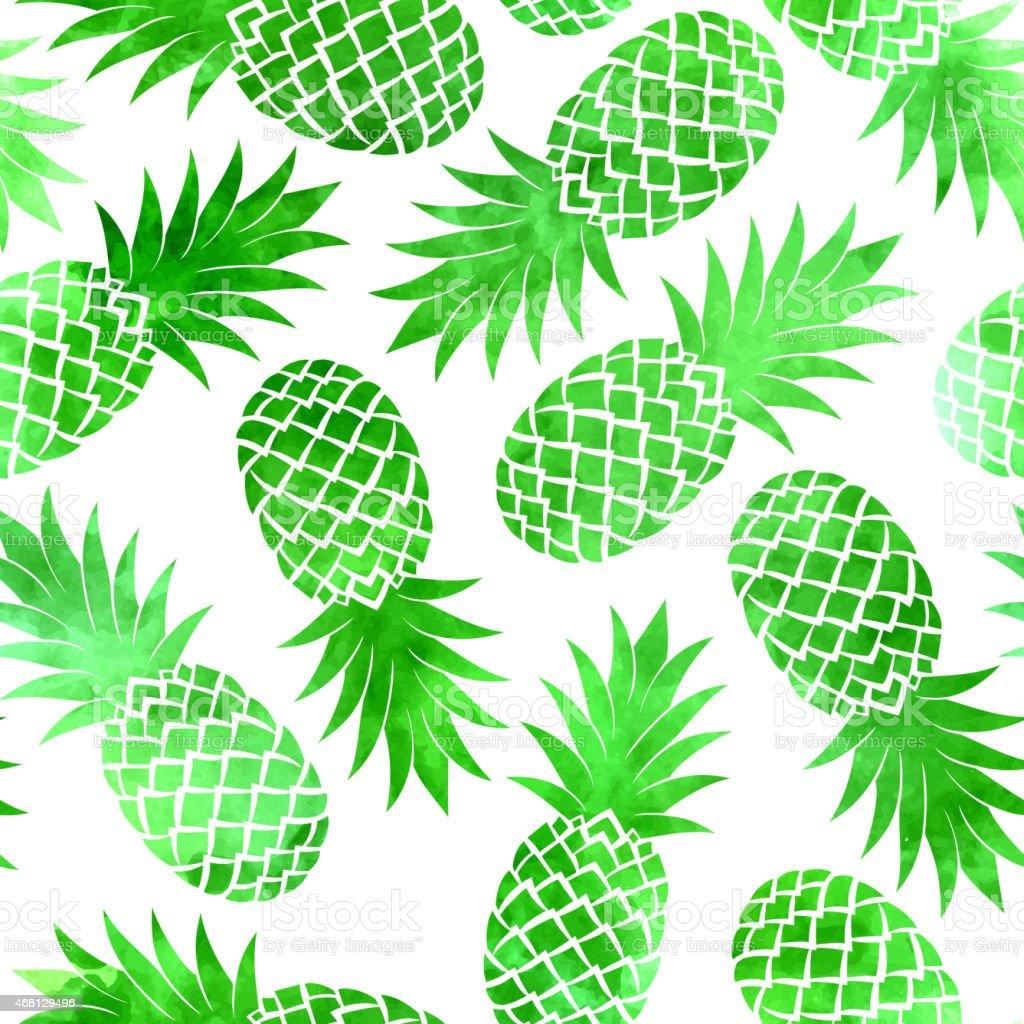 Vintage wzór bezszwowe zielony wodne Ananas – artystyczna grafika wektorowa