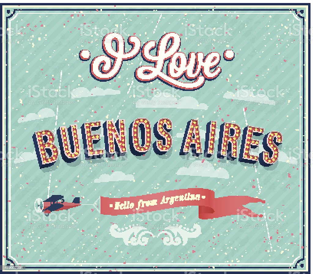 Vintage greeting card from Buenos Aires - Argentina. vector art illustration