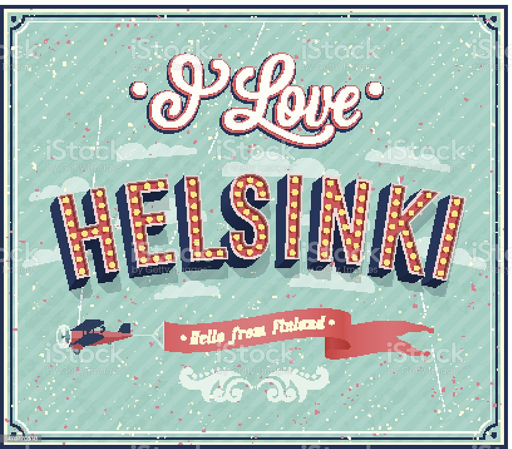Vintage greeting card from Helsinki - Finland. royalty-free stock vector art
