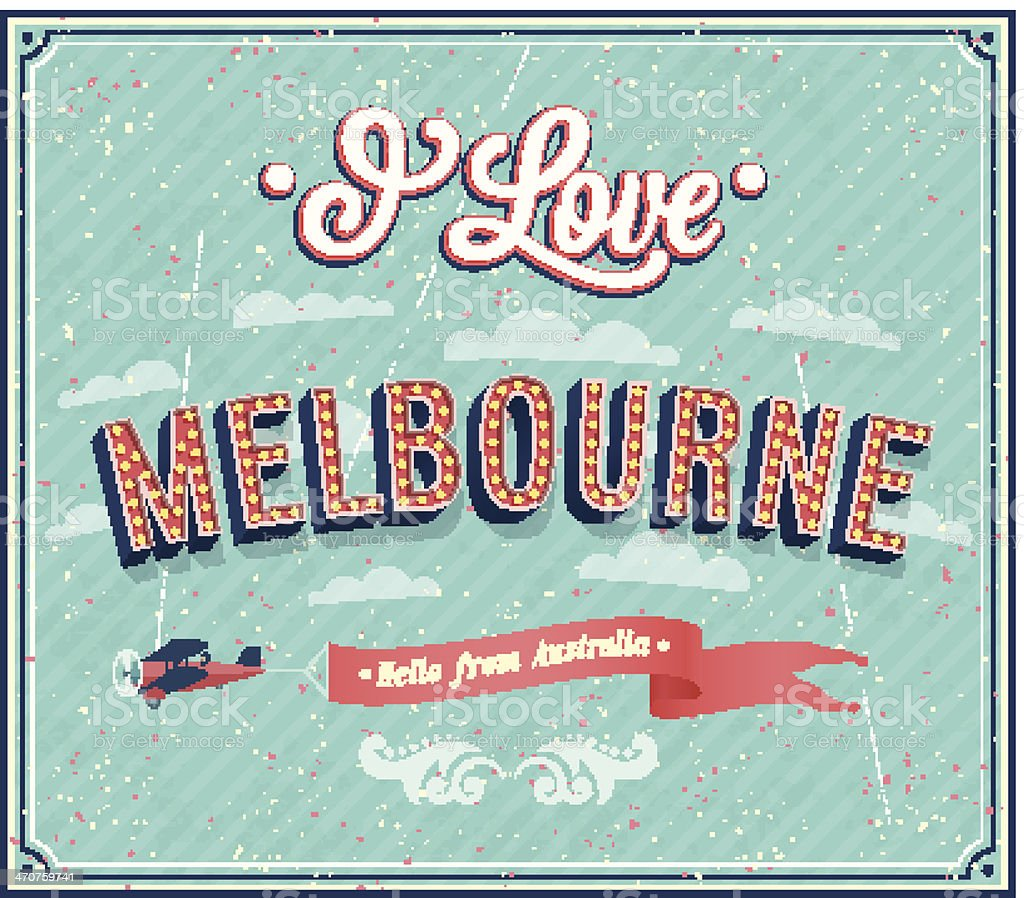 Vintage greeting card from Melbourne - Australia. vector art illustration