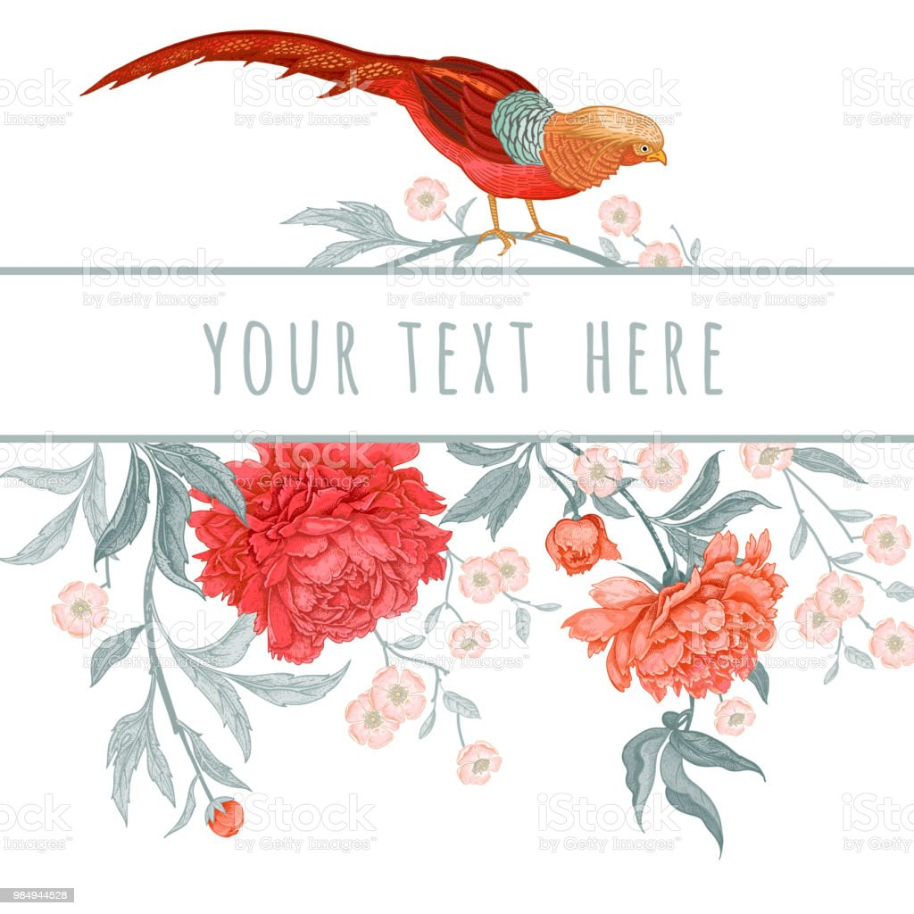 Vintage Greeting Card With Birds And Flowers Stock Vector Art & More ...