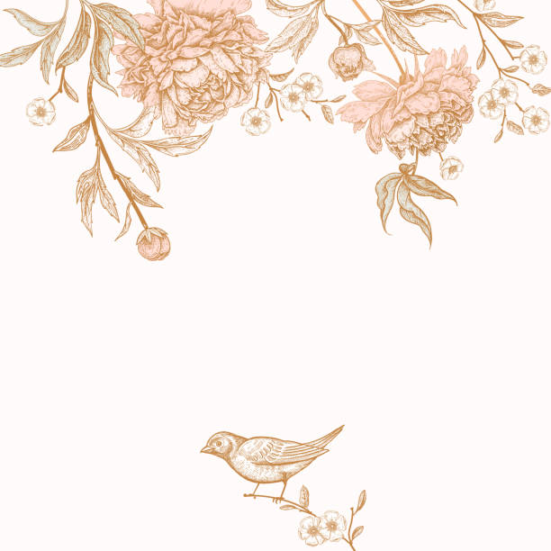 Vintage greeting card with birds and flowers. Card with flowers peonies and birds. Floral exotic vintage decoration. Ancient Oriental style. Vector illustration. Template for design of wedding invitations and holiday greetings. bird borders stock illustrations
