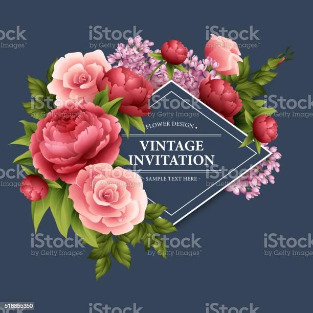 Vintage greeting card with blooming flowers vector illustration vector id518855350?b=1&k=6&m=518855350&s=612x612&h=aj1 p4wzle1lvtw bt29bbmgtv8oz2iangz7pao1tko=