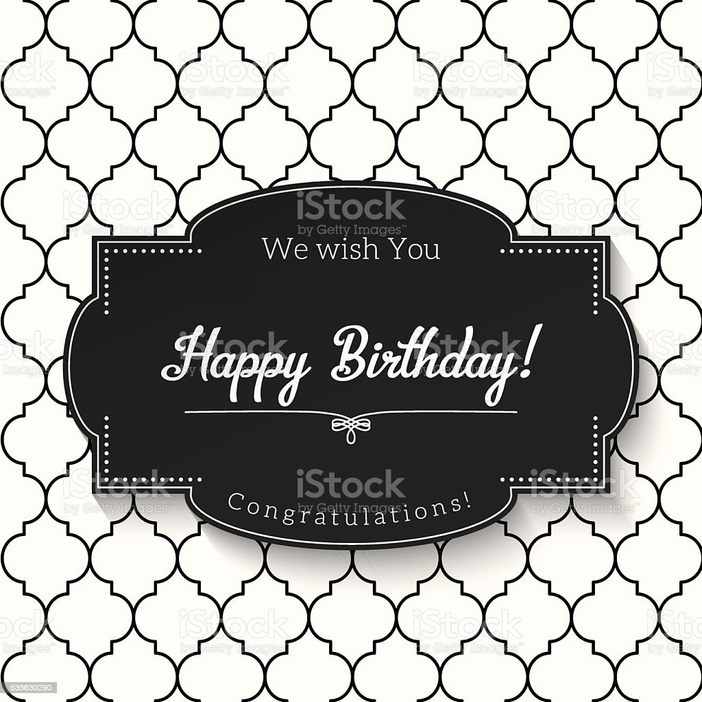 Vintage greeting card with text happy birthday illustration stock text abstract arts culture and entertainment black and white black color vintage greeting card kristyandbryce Gallery