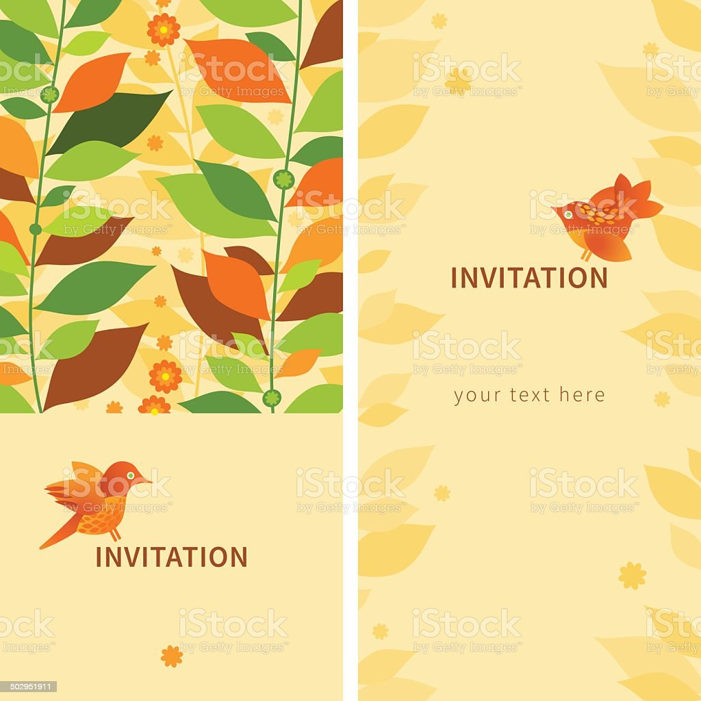 Vintage Greeting Cards With Leaves And Birds Stock Vector Art More
