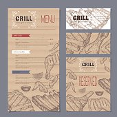 Vintage grill restaurant menu and stationery cards template with hand drawn sketch of grilled fish, ribs, chicken legs and wings. Placed on cardboard background. Great for grill cafes and restaurants.