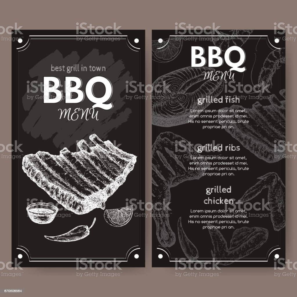 Vintage grill restaurant menu template with hand drawn sketch vector art illustration