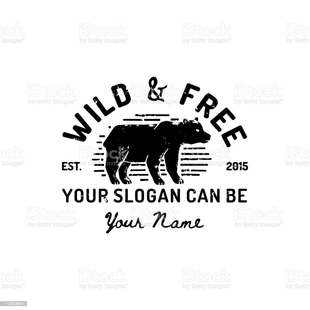 Vintage Grizzly Bear Logo Hand Draw. Vector Symbol Of Wild America,...