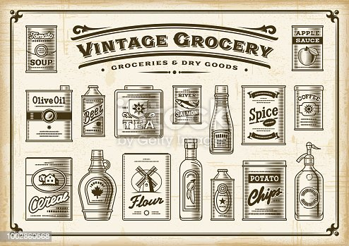 A set of vintage one-colored groceries in retro woodcut style. EPS10 vector illustration with transparency.