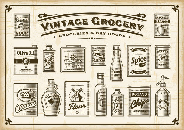 Vintage Grocery Set. One Color A set of vintage one-colored groceries in retro woodcut style. EPS10 vector illustration with transparency. maple syrup stock illustrations