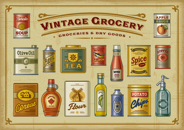 Vintage Grocery Set A set of vintage groceries in retro woodcut style. EPS10 vector illustration with transparency. maple syrup stock illustrations