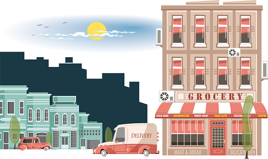 Easy editable vintage grocery  and delivery car vector illustration. All elements was layered seperately...
