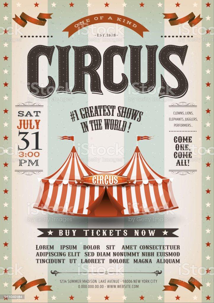 Affiche de cirque Grunge Vintage - Illustration vectorielle