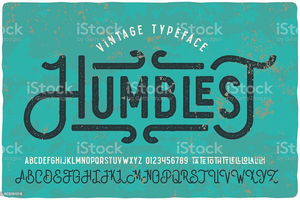 Vintage grunge font with dirty noise texture. vector art illustration