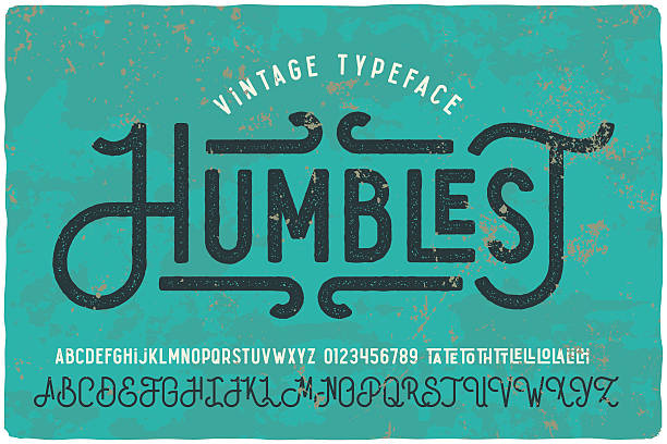 vintage grunge font with dirty noise texture. - fonts and typography stock illustrations, clip art, cartoons, & icons