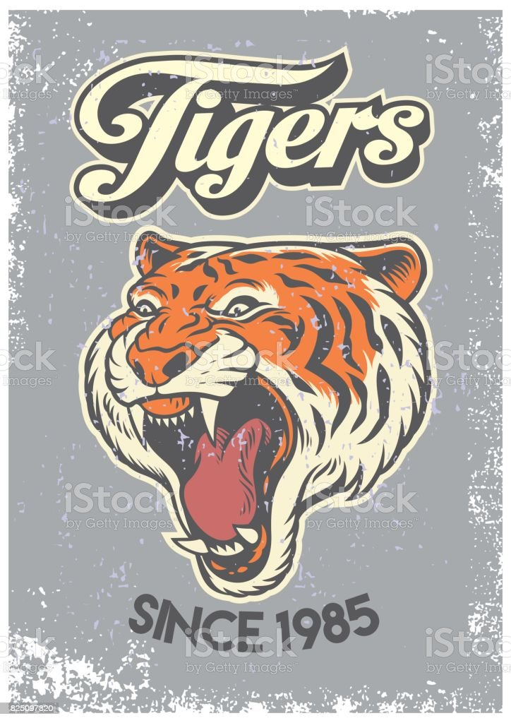 vintage grunge style of college poster of tiger head vector art illustration