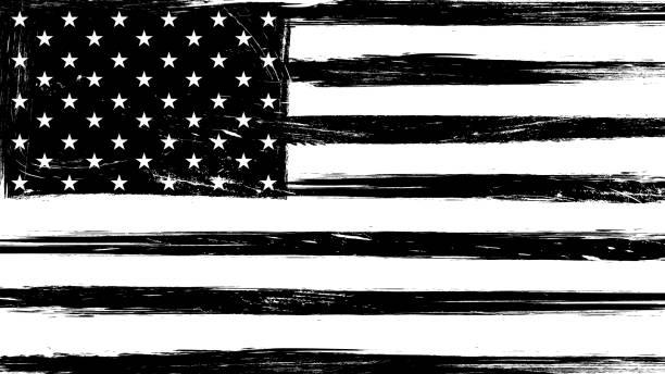 Vintage grunge USA black and white flag Vintage grunge USA black and white flag. black and white stock illustrations