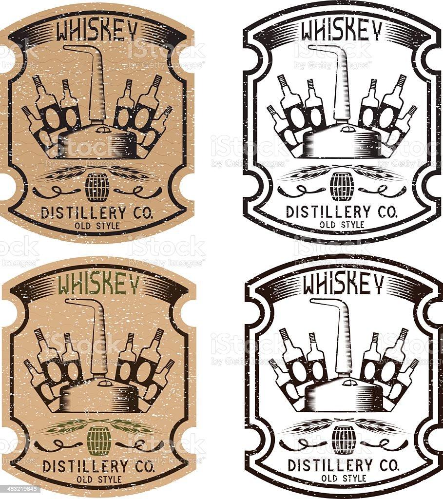 vintage grunge vector de etiquetas de whisky con whisky siendo cobre - ilustración de arte vectorial