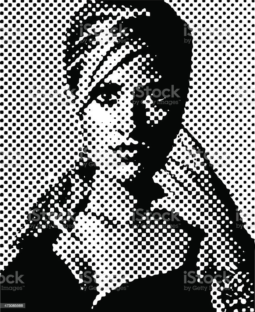 Vintage Halftone Pattern Portrait of a Woman vector art illustration