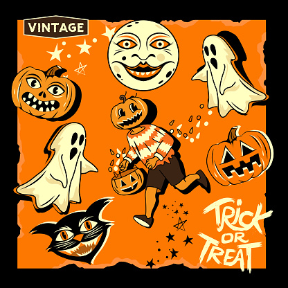 Vintage Halloween Event Characters And Symbols