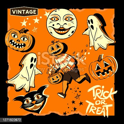A vintage collection of halloween characters and decorations. Vector illustration.