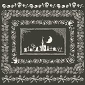 Set of hand-drawn Halloween ornamental frames, borders and gloomy landscape with cemetery.