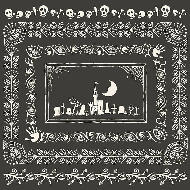 Vintage Halloween Frames and Borders Set of hand-drawn Halloween ornamental frames, borders and gloomy landscape with cemetery. scary halloween scene silhouettes stock illustrations