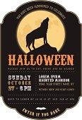 Vintage Halloween invitation with howling werewolf