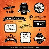 Vintage Halloween labels and frames