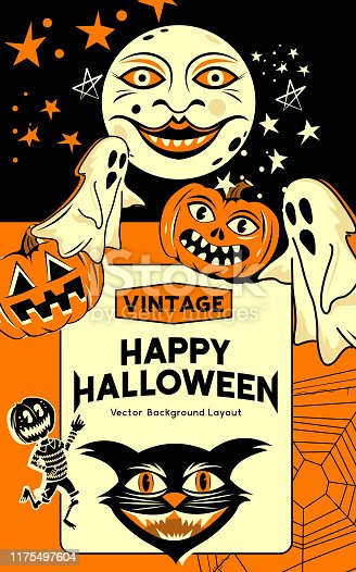 A vintage and retro style halloween party invitation background with  classic signs and symbols including ghosts, pumpkins and a black cat. Vector illustration.