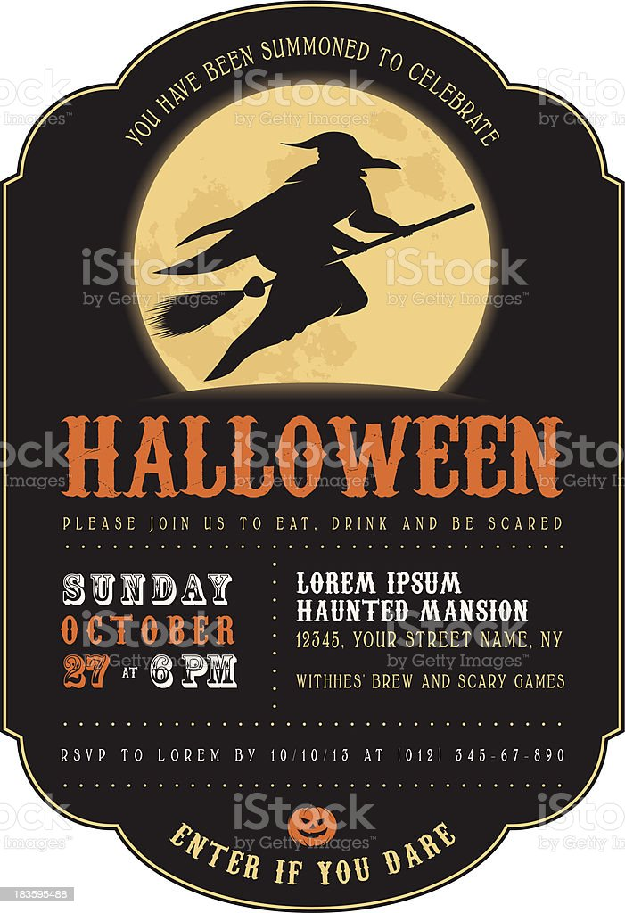 Vintage Halloween Party Invitation With A Witch Stock Vector Art ...