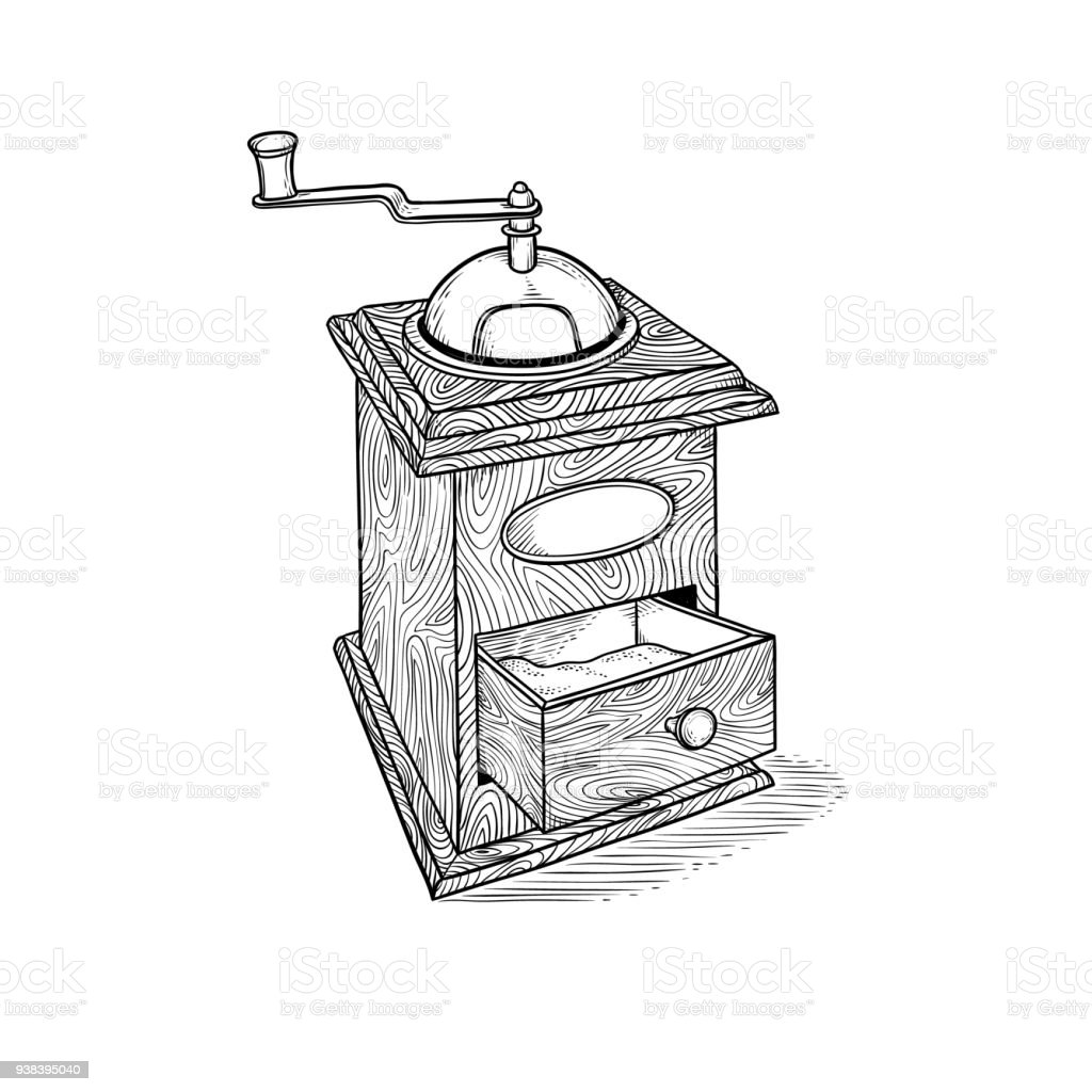 Vintage Hand Coffee Grinder Drawn Vector In Style Engraving Sketch ...